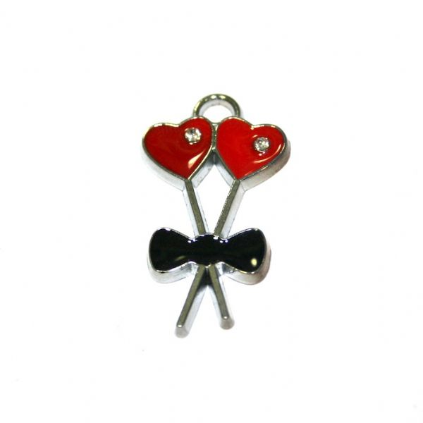 1pce x 30*16mm rhodium plated double red colour lock key with heart enamel charm - SD03 - CHE1067